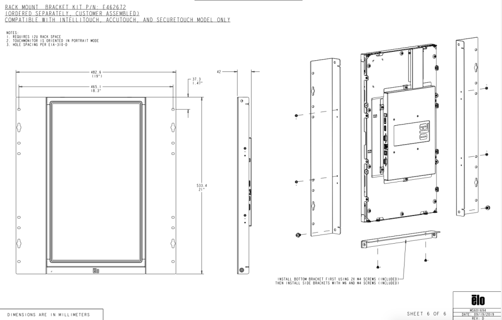 2294L Rack mount Bezel, only suitable for the intelliTouch versions of the products.